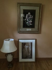 Two rectangular framed paintings; white table lamp with cone lampshade Ancaster, L9G 4G7