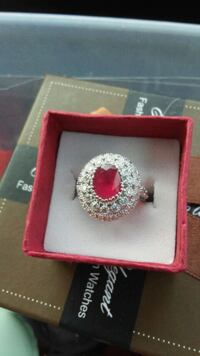 S925 silver & ruby ring size 7