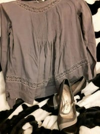 Grey long sleeve dress shirt with matching shoes Akron, 44312