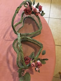 Vintage wrought iron wicker baskets with floral decors by design