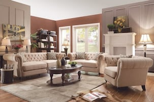 Trivellato Traditional Oatmeal Living Room Set FREE DELIVERY FINANCING