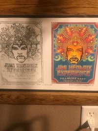 Authentic JIMI Hendrix  artist draft of Fillmore East Comcert comes with signed cert ,custom made solid oak frame  with glass front Las Vegas, 89131
