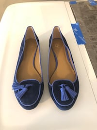 pair of blue leather flats Harvey, 70058
