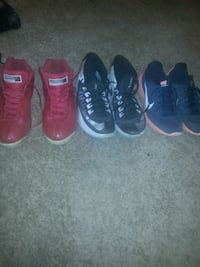 three pairs of sneakers