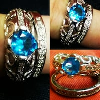 silver-colored encrusted blue rhinestone ring collage Browns Summit, 27214
