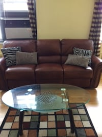 brown leather 3-seat recliner sofa New York