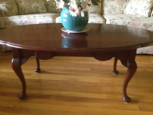 oval cherry coffee table