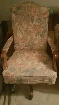white and brown floral fabric sofa chair Toronto, M4T