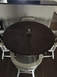 Round solid oak table and chairs