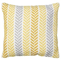 Four (4) Cotton Throw Pillows- Yellow/Grey