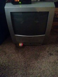 gray and black CRT TV