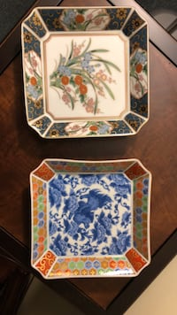 White, blue, and green floral ceramic plate..