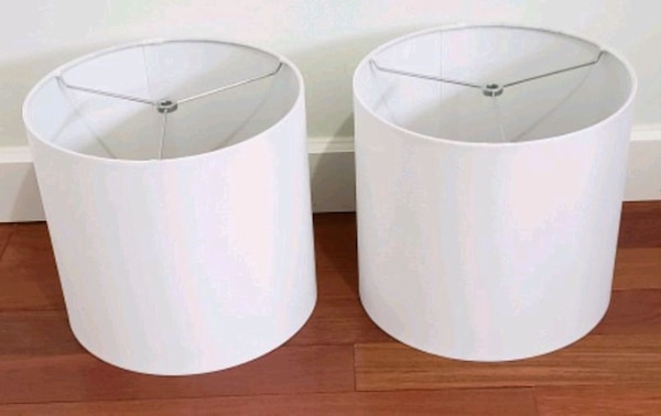 Two white lampshades