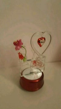 white and red floral glass vase Chestermere, T1X 1S5