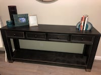 4-Drawer Media Console Table - Distressed Black Los Angeles, 90028