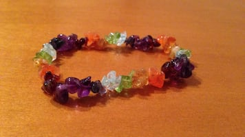 Purple orange clear and green crystal bracelet