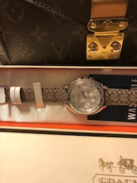 round silver chronograph watch with silver link bracelet Midland, 79701
