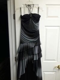 women's grey and black spaghetti strap prom dress
