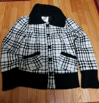 white and black plaid button-up jacket