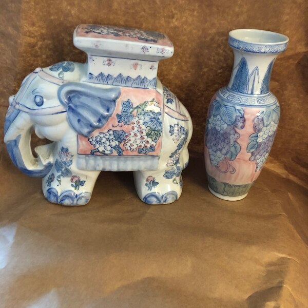 """Porcelain Elephant Plant Stand with Vase H-11 x 12 x 4"""" Vase 11 x 4"""" Approx"""
