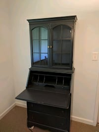 Dark slate green wooden cabinet secretary w/ hutch null