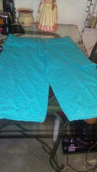 teal cargo draw string shorts
