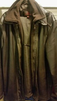 black leather zip-up jacket Hamilton