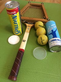 Vintage tennis racket and accessories