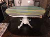 Hand painted aura style wood dining table