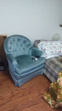 blue fabric sofa chair with ottoman Cave Spring, 24018