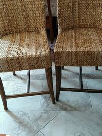two brown wooden framed brown padded armchairs Orange, 92869