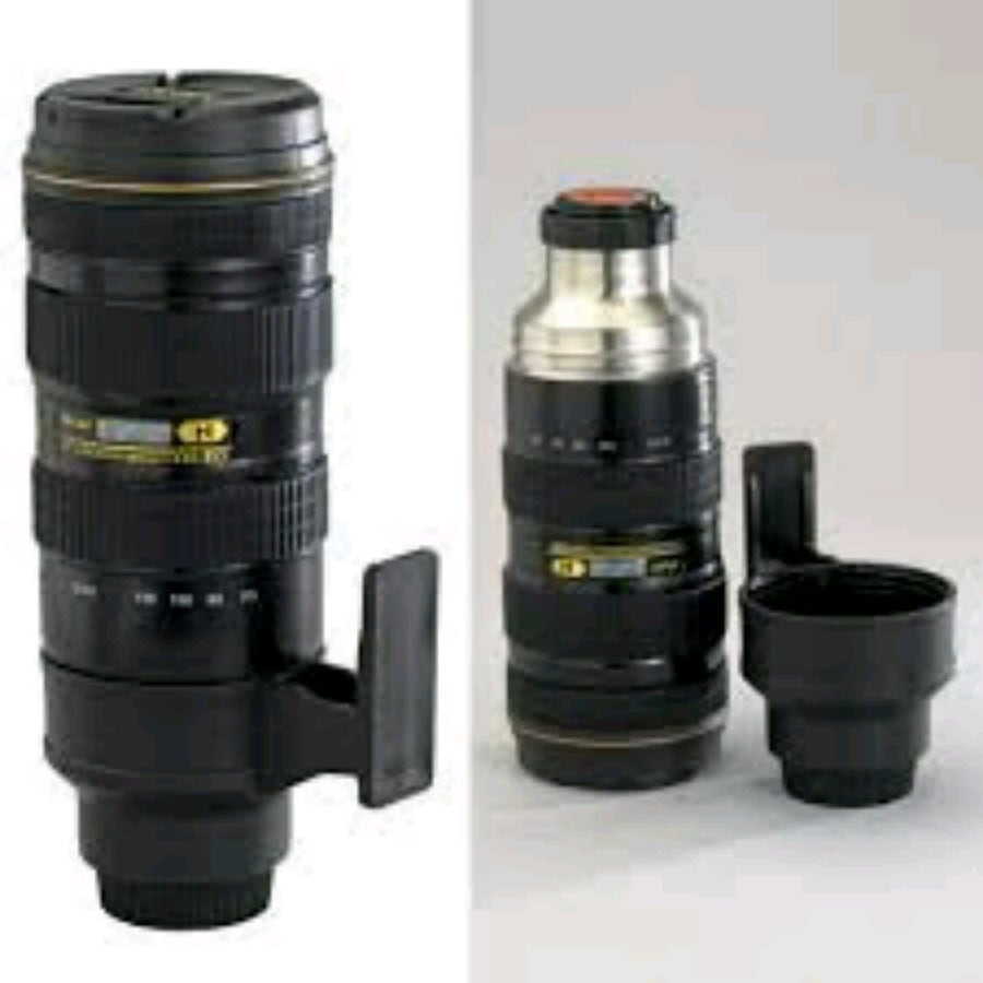 Nican Camera Lens Style Thermos Mug w travel Pouch