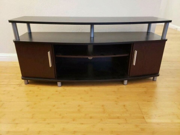 Black And Brown Wooden Tv Stand