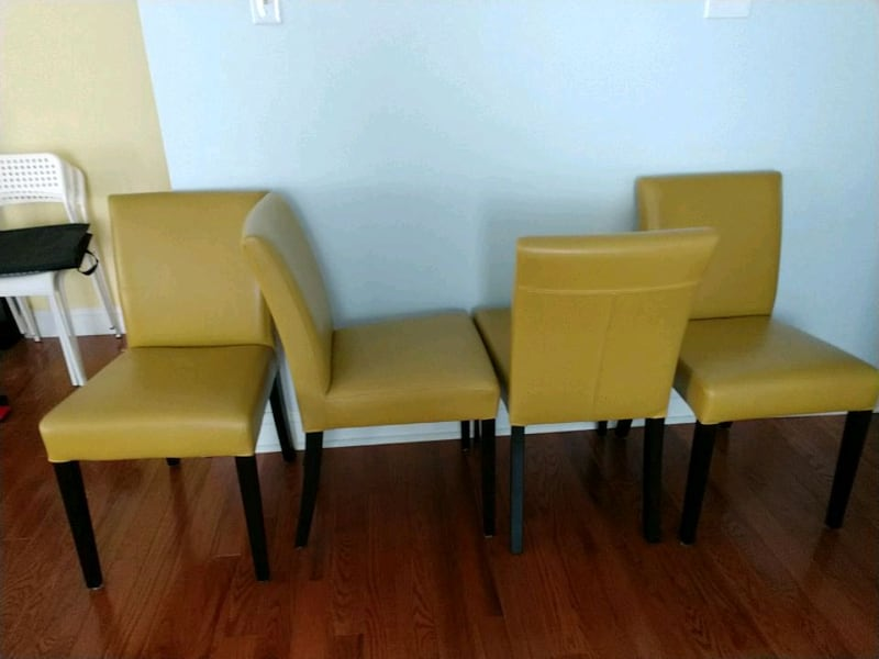 4 mustard yellow leather dining chairs 5cf7c371-f464-4ceb-9293-ce4ff56cbc19