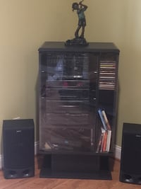 Black wooden framed glass display cabinet with stereo and speaker Boyds, 20841