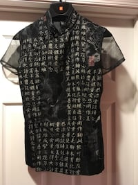 Handmade Chinese characters/tiger prints woman silk black shirt new