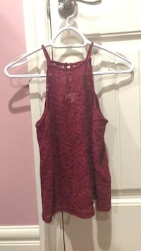 wine red lace tank top