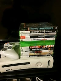 Xbox 360 console with controller and game cases Stafford, 22554