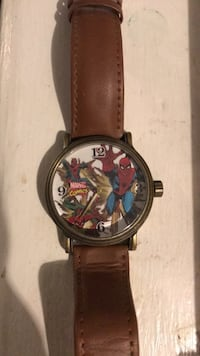 Spider-Man analog watch with brown leather strap