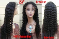 """New 23"""" 100% Human Hair Glueless Deep Wave Curly Lace Front Wig (s7) Hyattsville"""