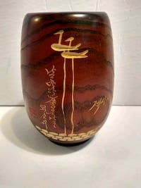 Wood carved chinese brush pot