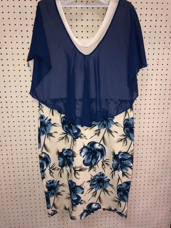 women's blue and white floral sleeveless dress