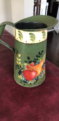 Beautiful hand painted antique milk can