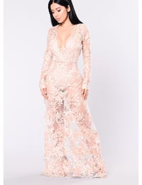 Women's pink plunging neckline lace long-sleeved long dress