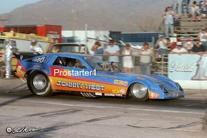 8x10 Drag Racing Photo JOHNNY WEST Dodge Charger Funny Car 1980's Tucson Dragway
