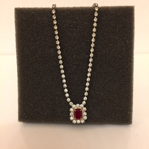 Faux Ruby & Diamond Necklace