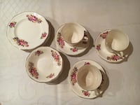 white-green-and-pink floral ceramic dinnerware set