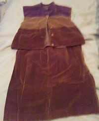 Brown and purple suede skirt set