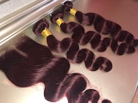 Burgundy bundles with closure McDonough, 30253