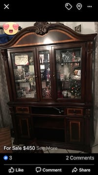 Brown wooden framed glass display cabinet San Antonio, 78205